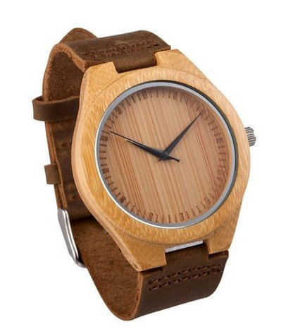 Mercimall Mens Wooden Wristwatch Leather Strap