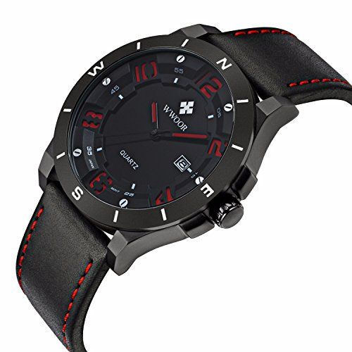 FIZILI 8014 Men Black Leather Strape Wrist Watch