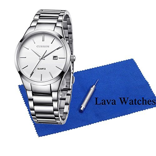 Lava Watches Men's Watches Auto Date Analog Silver Stainless steel Strap Casual Watch