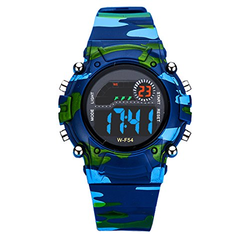 AZLAND Digital Water Resistant Kids Watches Small-size with Gift box,Camouflage Color