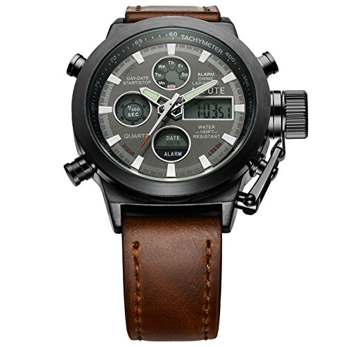 Affute Amry Military Sports Men's Watches PU Leather Strap Ditail Led Wrist Watch