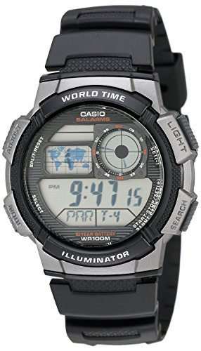 Casio Men's AE1000W-1BVCF Silver-Tone and Black D...