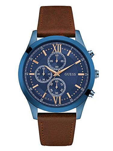 GUESS Men's Stainless Steel Leather Casual Watch,...