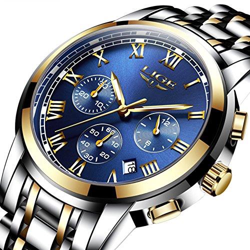 LIGE Men's Quartz Stainless Steel Watch, Color:Bl...