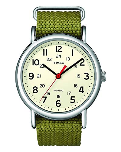 Timex Unisex T2N651 Weekender Olive Nylon Slip-Th