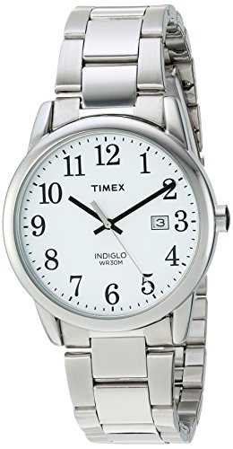 Timex Men's TW2R23300 Easy Reader Silver-Tone/Whi...