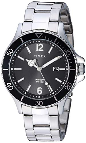 Timex Men's TW2R64600 Harborside Silver-Tone/Blac...
