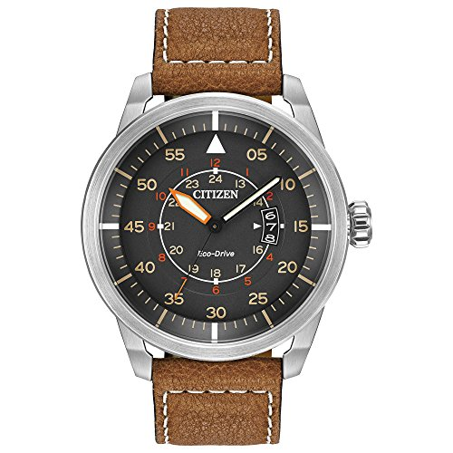Citizen Men's Eco-Drive Brown Leather Strap Watch...