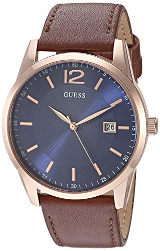 GUESS  Brown + Blue Genuine Leather Watch with Da...
