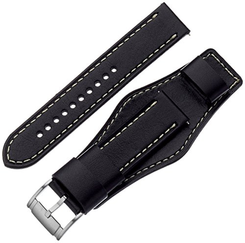 Fossil 22mm Leather Watch Band, Color: Black (Mod...