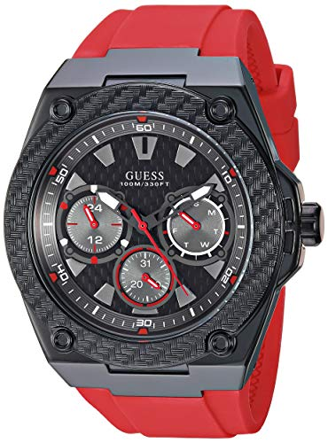 GUESS Comfortable Iconic Red Silicone Watch with ...