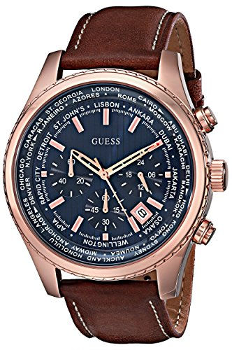 GUESS Men's Stainless Steel Casual Leather Watch,...