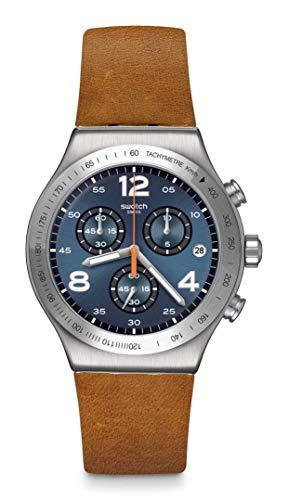 Swatch Irony Stainless Steel Swiss Quartz Leather...