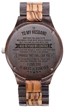 Mens Wood Watches Natural Handmade Engraved Husba...