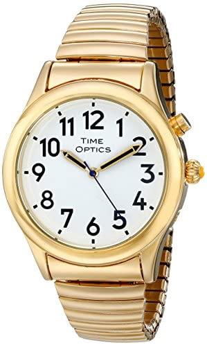 TimeOptics Men's Talking Gold-Tone Day & Alarm Ex...