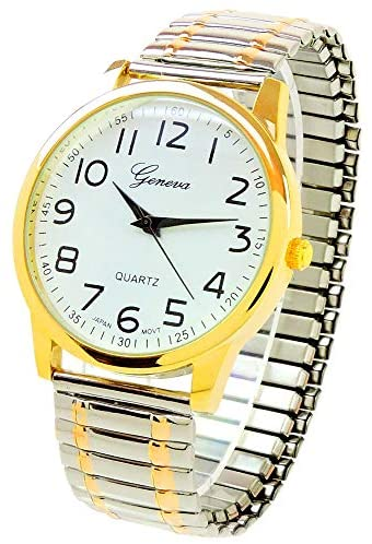2Tone Large Face Easy to Read Stretch Band Watch