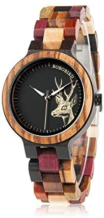 BOBO BIRD Wood Wristwatch Womens Colorful Wooden ...