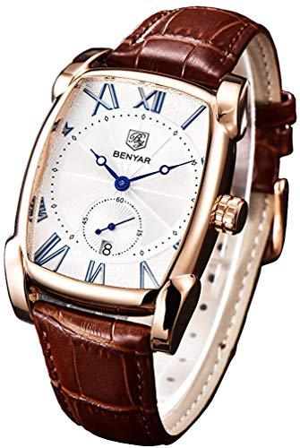 Classic Retro Rectangle Watches Men Brown Genuine...