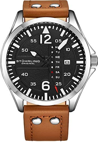 Stuhrling Original Mens Leather Watch -Aviation W...