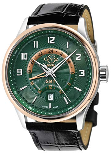 GV2 Men's Stainless Steel Quartz Watch with Leath...