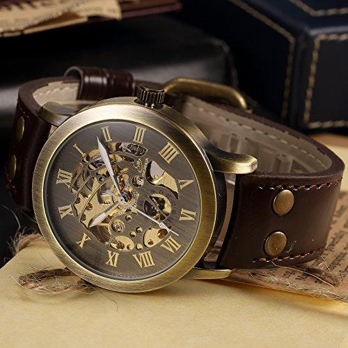 AMPM24 Men's Steampunk Bronze Skeleton Wrist Watch