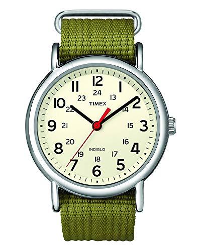 Timex Unisex T2N651 Weekender Olive Nylon Slip-Th...