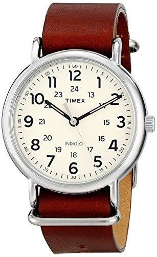 Timex Unisex T2P495 Weekender 40 Brown Leather Sl...