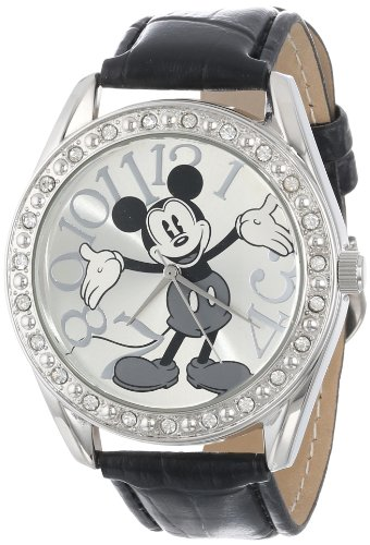 Disney Unisex MK1015 Mickey Mouse Silver Dial Bla...