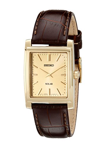Seiko Men's SUP896 Gold-Tone and Brown Leather So...