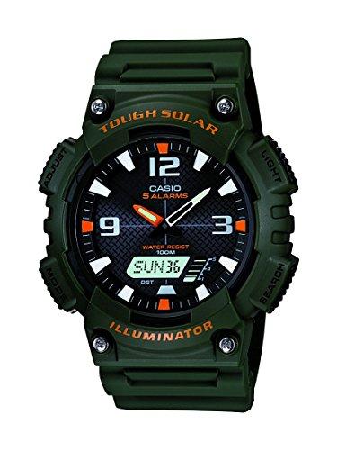 Casio Men's AQS810W-3AVCF Solar Watch with Green ...