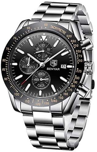 BENYAR Chronograph Mens Watch Quartz Movement 30M...