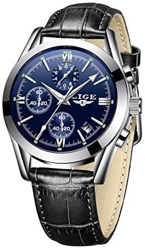 LIGE Mens Watch Leather Analog Quartz Wristwatch ...