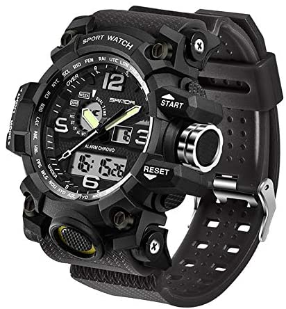 Men's Military Watch, Dual-Display Waterproof Spo...
