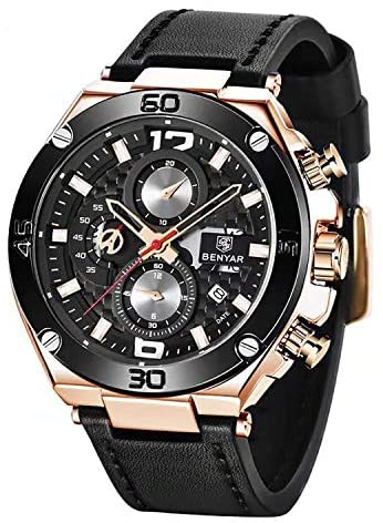BENYAR Men Watch Quartz Chronograph Date 3ATM Wat...
