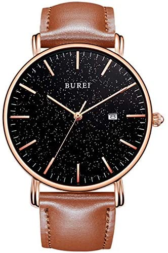 BUREI Men's Watch Ultra Thin Quartz Analog Wrist ...