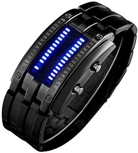 Binary Matrix Blue LED Digital Watch Mens Classic...