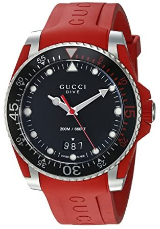 Gucci Quartz Stainless Steel and Rubber Casual Re...