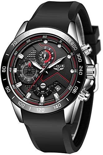 LIGE Men's Watches Elegant Silicone Strap Watches...