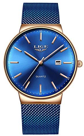 LIGE Mens Watches Ultra-Thin Waterproof Stainless...