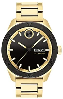 Movado Bold, Ionic Gold Plated Steel Case, Black ...
