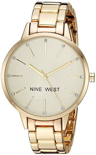 Nine West Women's Crystal Accented Gold-Tone Brac...