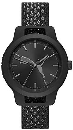 PUMA Men Reset V1 Nylon Watch, Color: Black/Black...