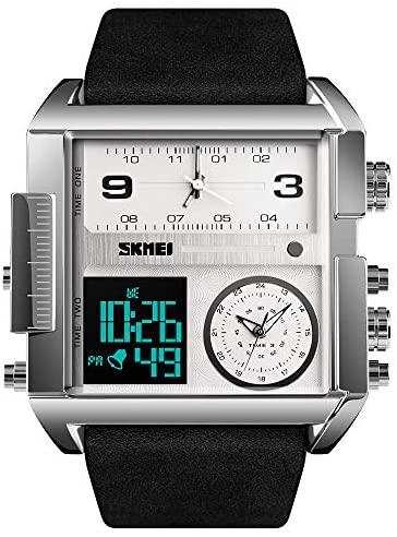 SKMEI Men's Digital Sports Watch, LED Square Larg...