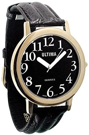 Ultima Low Vision Watch - Black Dial - White Numb...