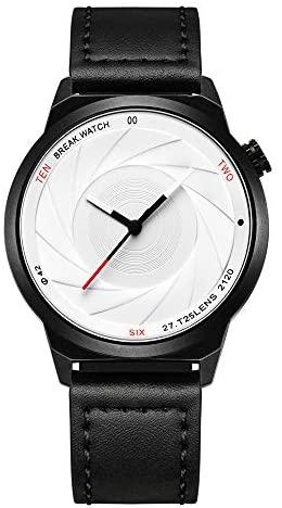 BREAK Men's Watches Black Leather Strap Quartz Wr...