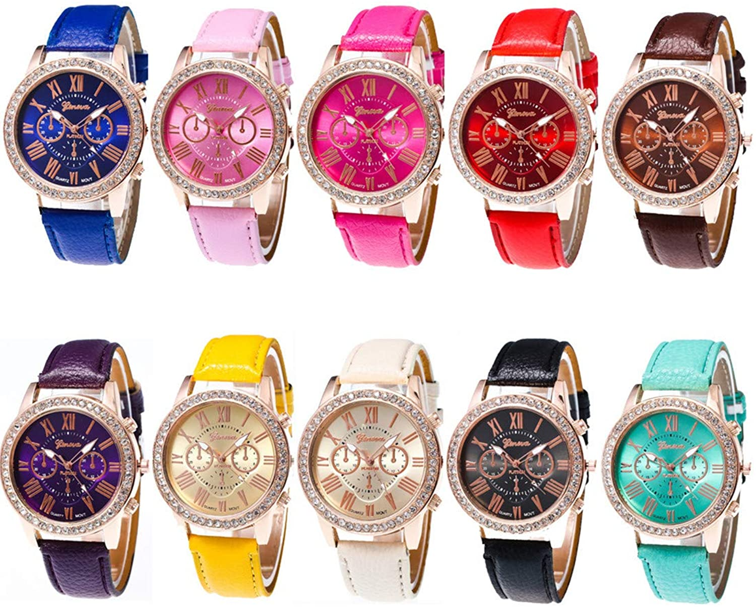 CdyBox Wholesale Watch 10 Pack Rhinestone PU Leat...
