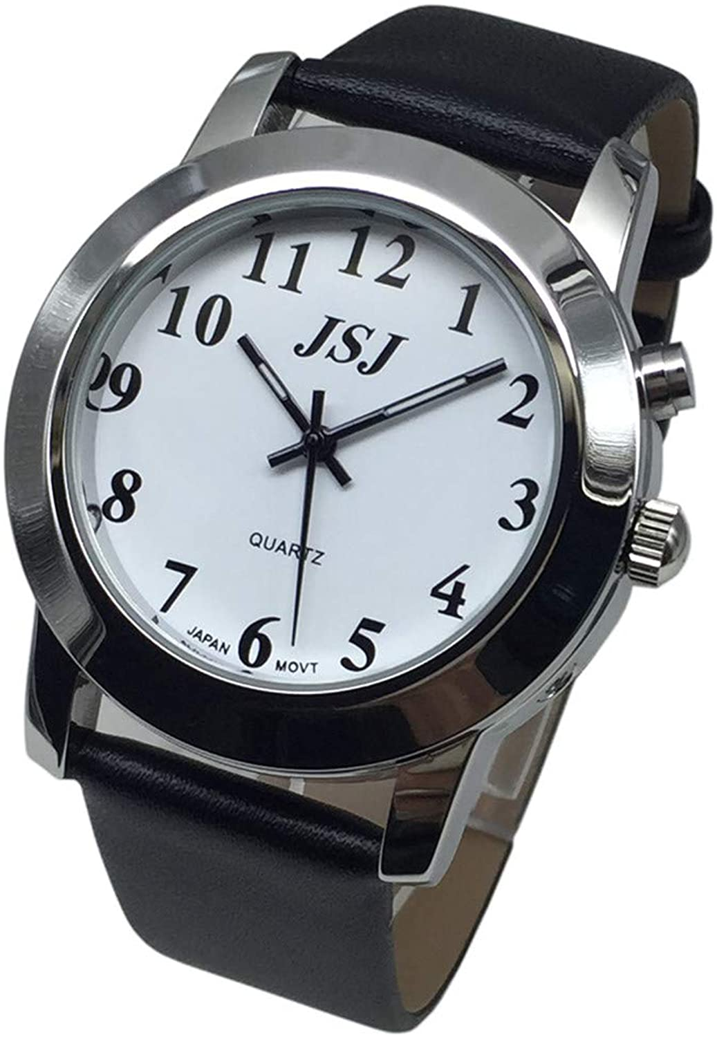 English Talking Quartz Watch with Leather Strap,T...