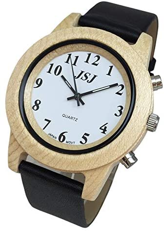 English Talking Wooden Watch with Alarm Leather S...