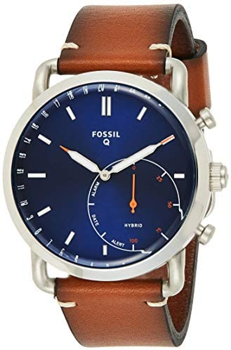 Fossil Men Commuter Stainless Steel and Leather H...