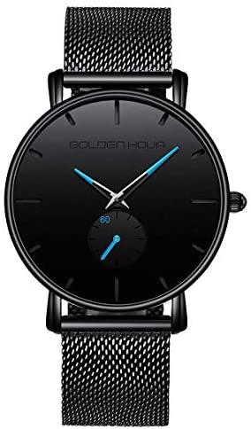 GOLDEN HOUR Unisex Minimalist Wrist Watches for M...